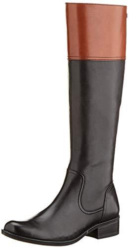 CAPRICE Damen Kania Hohe Stiefel, Schwarz (Black/Cognac 35), 39 EU