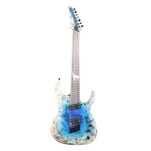 ZUWEI 7 Strings Electric Guitar Burl Top Ash BodyStain Finish Strings Thru Body 5pieceMahogany Neck,Fanned Frets