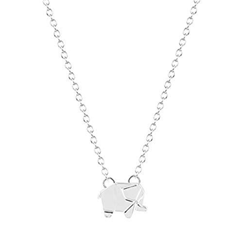 GYKMDF Collar de Elefante de Origami Plateado o Dorado, Elefante geométrico, Collar Delicado, Diario, Collar, Collar Simple, cumpleaños