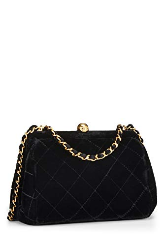 CHANEL Black Quilted Velvet Shoulder Bag (Renewed)