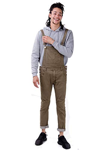 Burton Mens Skinny Fit Bib Overalls Green Brown Camouflage Jean Denim Dungaree Braces Straps