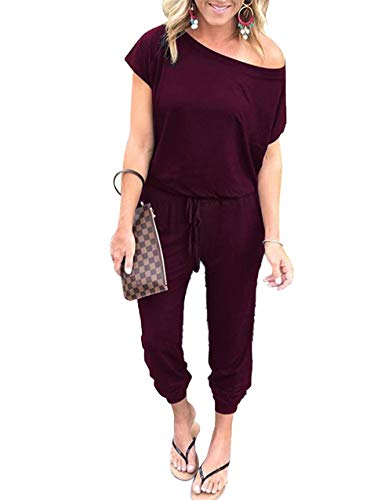 PRETTYGARDEN Off Shoulder Sleeve Hollow Out Sexy Women Bodycon Long Jumpsuit Rompers (X-Large, 600089 Wine Red)