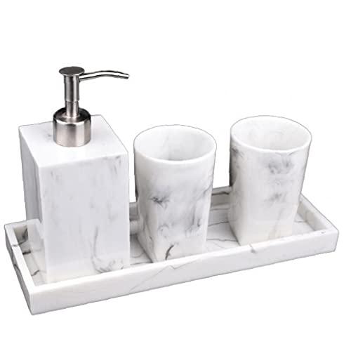 Tuimiyisou Juego de Accesorios de baño de mármol Look Aseo dispensador de jabón Cepillo de Dientes Titular Kit de Herramientas 4PCS para el hogar