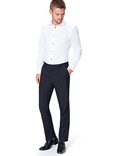 Amazon-Marke: find. Herren Hose Regular Fit Pleated Formal, Blau (Navy), W32/L31