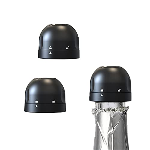 3 Pack Champagne Bottle Stopper, Compact Champagne Sealer Plug, Reusable Wine Bottle Saver for Champagne, Cava, Prosecco & Sparkling Wine