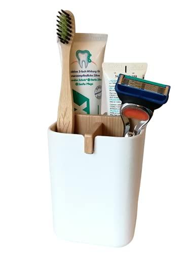 KARBAN Organizer klein I 100prozent natürlicher Bambus Organizer I Praktische Badezimmer Aufbewahrung, Ordnungsbox, Kosmetik Organizer & Stiftehalter I Stilvoller Zahnputzbecher oder Make up Organizer