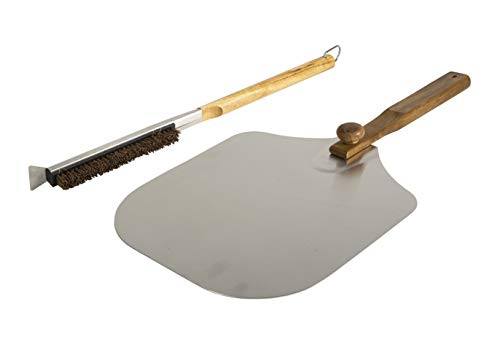 Pizzacraft Brush & Pizza Peel Accessory Set, Perfect for Cleaning Grills and Ovens, All Natural Acacia Wood & Palmyra Bristles