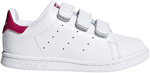 Adidas Originals - Sneaker da neonato Stan Smith Cloudfoam, Bianco (Calzature bianco/calzature bianco/rosa acceso.), 17 EU