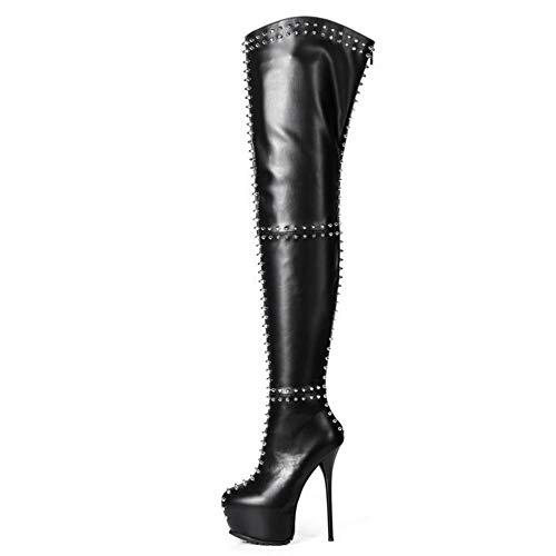 GIARO Sophia Premium Stiefel für Damen - Elegante High-Heels - Kniestiefel mit hohem Absatz - Damenstiefel - Stöckelschuhe für Frauen - Schwarz Matt (Schwarz Matt, Numeric_43)