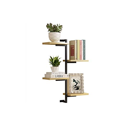 Shelves Walls Wall Shelf Iron Art Wall Shelf Solid Wood Vintage Floating Great Wall 4 Tier(Available in Three Colors) GFDEA (Color : Light Walnut)
