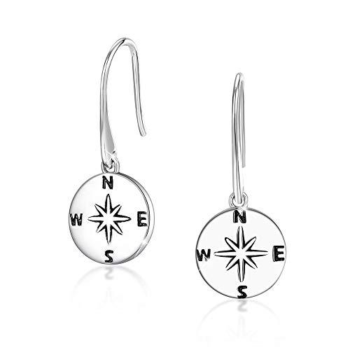 Kompass Ohrringe - 925 Sterling Silber Richtung des Lebens & ich würde ohne dich verloren sein Freundschaft baumeln Haken Ohrringe Reisen Abschluss Weihnachten Schmuck Geschenke für Sie