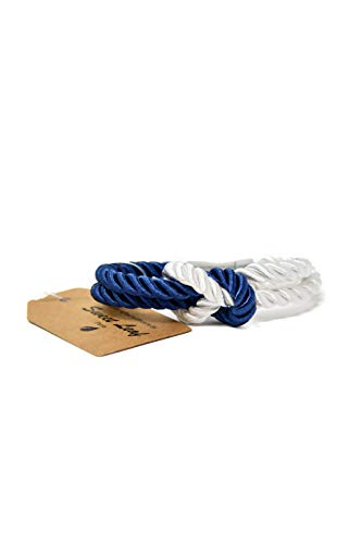 Armband Blau und Weiß für Herren - Handgefertigt - Hochwertige Baumwolle und Echte Seide - Silberpolierter Edelstahl Verschluss - Klassisch, Elegant und Modern - (Schmuck ideal für ein Geschenk)
