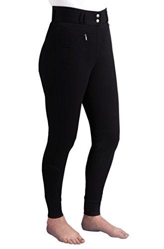 Caldene Competition, Pantaloni da Equitazione a Vita Alta Donna, Nero (Black), 24'