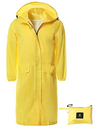 Womens Long Hooded Rain Jacket Waterproof Lightweight Raincoat Windbreaker Yellow Medium