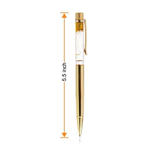 Liquid Sand Pen Ballpoint Pens 5 Pcs Metal Pen Refills Bling Dynamic Liquid Sand Pen Black Ink +10Pcs 2.75'' Ballpoint Pen Refills (5 Color) Photo #2