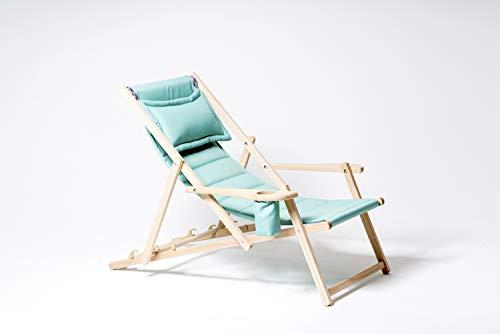 Tumbona de jardín de madera, tumbona plegable, tumbona de playa con cojines, sillón de relajación, impermeable, estructura sólida, fabricada en la UE (menta)