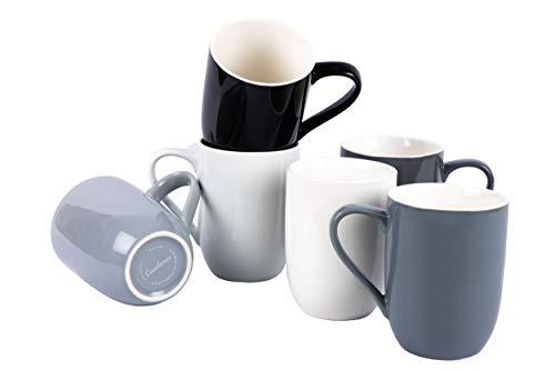 Casalanas 6-er Kaffee-Tassen-Set grau, Night & Day, 290 ml, Porzellan, modernes Design mit Set-weitem Farbverlauf