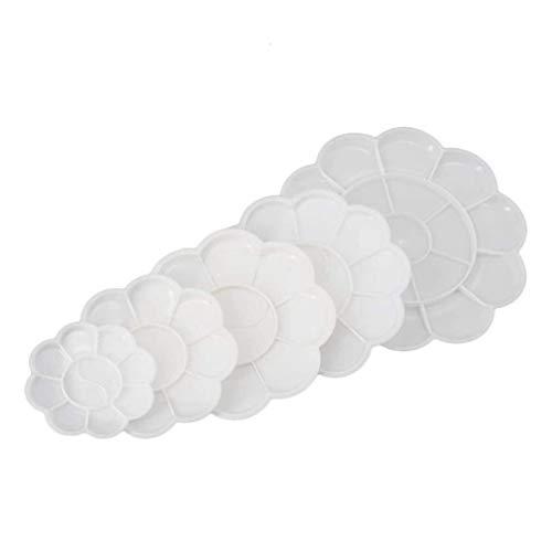 FANDE Mischpalette aus Kunststoff, 5 Stück, Paletten in Blütenform, für Schule und Künstler, Kunststoff, weiß, ideal zum Mischen von Farben (Verschiedene Größen)