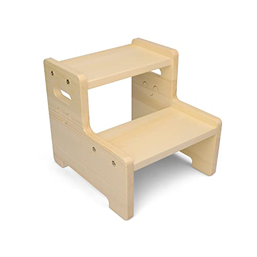 LAKINGO Solid Wood 2 Step Foot Stool for Kids Toddler, Two Stair Children Climbing Stool for Bathroom, Toilet, Sink, Kitchen, High Bed, Vintage Double Wooden Stepping Footstool with Handle
