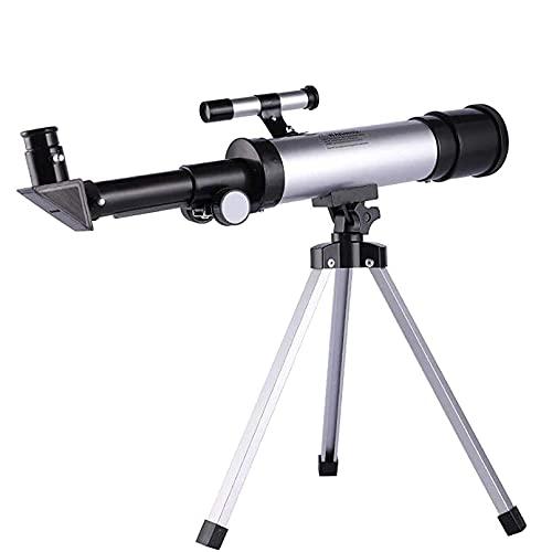 CHENXU Telescopio Astronómico para Adultos Adultos Niños Piso Permanente 50mm Apertura Telescopio de refracción con trípode para astronomía Principiantes Espacio Observación de observación Star