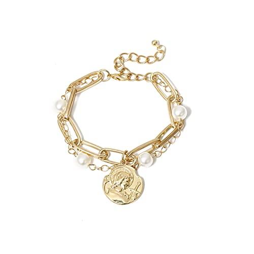 SFQRYP Cadenas de Cuello de gótico Collar de Monedas para Mujer Color Oro Color Barroco Collar de Perla alterno Choker goker joyería (Metal Color : Bracelet Gold)