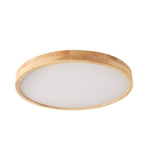 OUUED Intérieur Baissable LED ovale Plafonnier Dimmable 11,8 pouces moderne Minimaliste forme ronde en bois massif et métal et acrylique encastré au plafond Lampe for Cuisine Chambre Salon (Log couleu