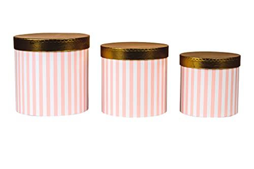 Juego de 3 cajas de almacenamiento redondas con tapa, caja decorativa con rayas, caja redonda para flores (rosa/blanco-dorado)