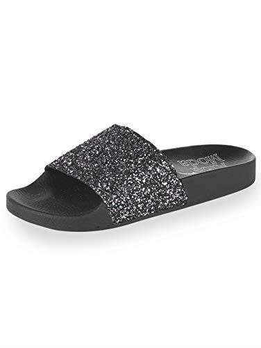 Alba Moda Pantolette mit Glitter Schwarz