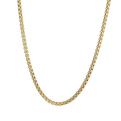 Collares de Cadena de Acero Inoxidable para Hombre, Mujer, Color Dorado y Plateado para Colgante, Hebilla de Perla, Donot Fade