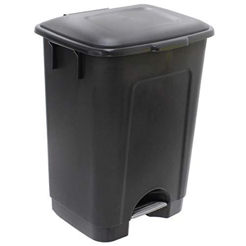 Cubo de Basura con Pedal 75 litros y con Ruedas - Papelera Contenedor (Tapa Negra)