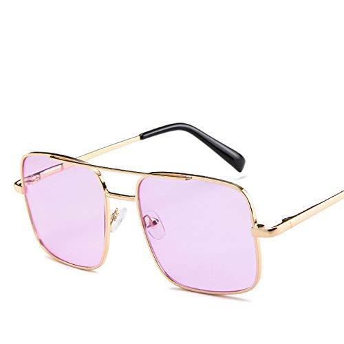 ZJMIYJ zonnebril, heren, pilotenbril, vierkant, voor bestuurders, merk, zonnebril, voor dames, van licht metaal, violet-tinten, retro spiegel, goudkleurig