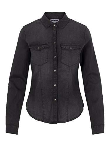 Noisy May NOS DE Damen NMDILEM L/S Slim Shirt BI017BL NOOS Bluse, Schwarz (Schwarz Black Denim), 42 (Herstellergröße: XL)