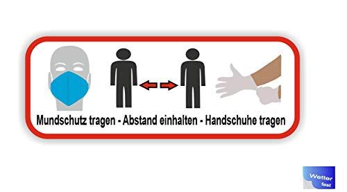 Generisch 1 Stück Handschuhe tragen Mundschutz Abstand halten Sicherheits Symbol Aufkleber Abziehbild (R50/4) W (15cm Länge)