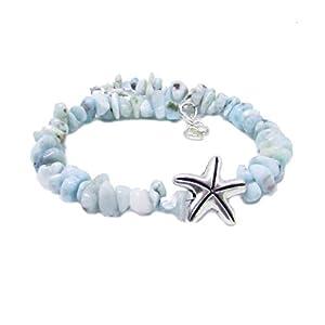 Larimar Stone Bracelet with Starfish - Soothing Chakra Bracelet