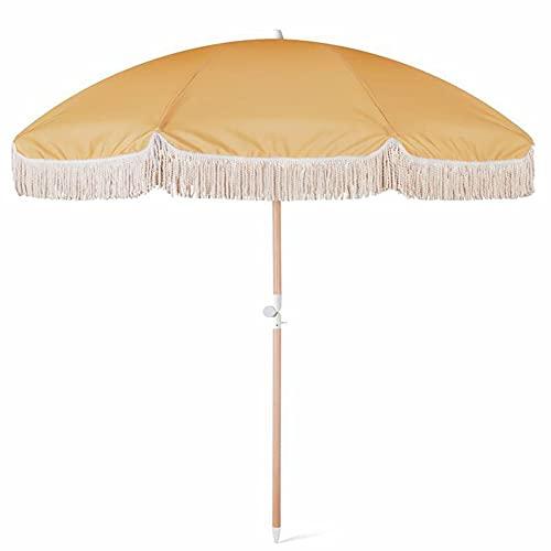ELLENS Sombrilla de Playa de Lujo con Flecos de 200 cm, diseño de Salidas de Aire y Refugio Solar portátil para Actividades en la Arena y al Aire Libre, UPF50 + (Amarillo Brillante)