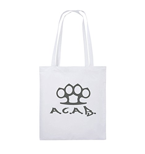 Comedy Bags - A.C.A.B. - SCHLAGRING1 - Jutebeutel - Lange Henkel - 38x42cm - Farbe: Weiss/Grau