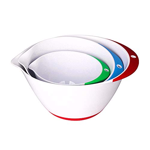 Plastic Mixing Bowls - Set of 3 | Plastic Mixing Bowls with a Non-Slip Base and Pouring spout for Easy Pouring. Dishwasher Safe and Compact to Store | from Jean-Patrique