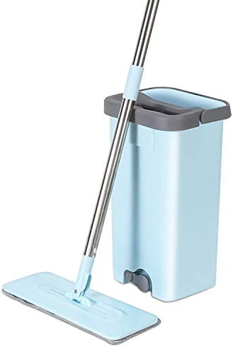 MOOSOO Flat Floor Mop and Bucket with Wringer Set Wet Microfiber Mop with 2 Washable Pads for product image