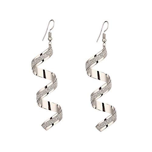 Mypace Anhänger Gold Silber 925 Für Damen Twist Spiral Ohrringe baumeln Ohrring Charm Schmuck Silber Gold schwarzer langer Ohrring (Silber)