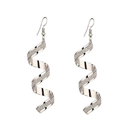 Lange Ohrring Twist Spiral Ohrringe baumeln Ohrring Charme Schmuck Silber Gold Schwarz (Silber)