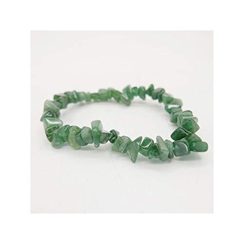 Pulsera de Chip de Cuarzo Verde Minerales y Cristales, Belleza energética, Meditacion, Amuletos Espirituales