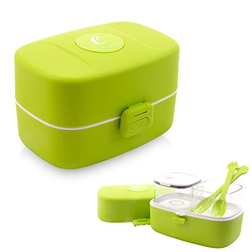 Eseasons Bento Lunchbox 3 compartiments étanches Idéal pour l'école ou la Maternelle Blanc Vert