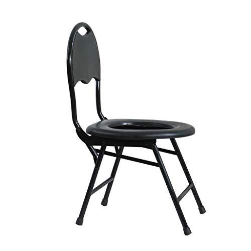 Nuitab Douchestoel, verrijdbare toiletstoel, draagbaar, antislip, ouderen, zwangere vrouwen, handicaps, camping, outdoor-activiteiten, zwart