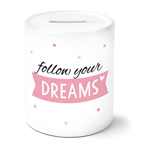 OWLBOOK Follow Your Dreams Spardose Personalisiert mit Namen Geschenke Geschenkideen für Mädchen zum Geburtstag Weihnachten