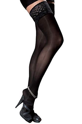 Selente Lovely Legs raffinierte halterlose Damen Strümpfe, 40 DEN, Made in EU, schwarz, Gr. L