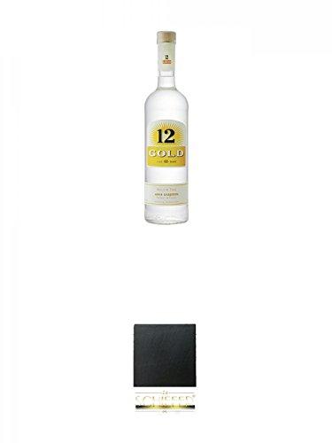 12 Gold Anis Liquer 0,7 Liter + Schiefer Glasuntersetzer eckig ca. 9,5 cm Durchmesser