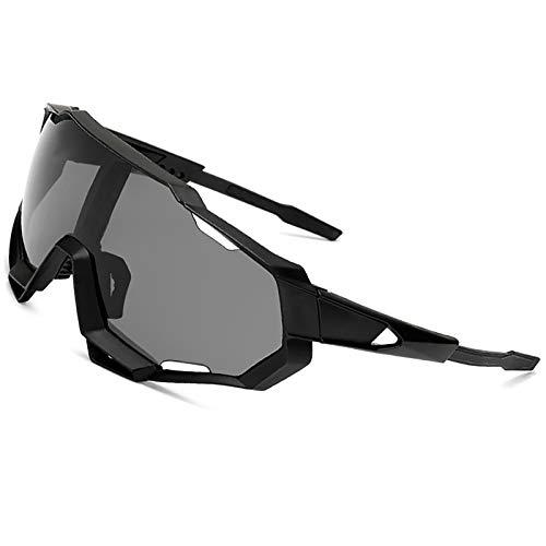 ZLUCKHY Gafas de Sol Polarizadaspara Ciclismo Bicicleta Running Deportes Protección UV 400 Anti Viento para Hombre Mujer (Color : Black)