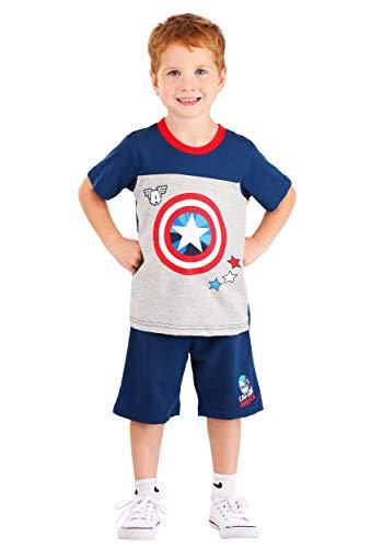 Marvel muchachos Capitán América 2 Pieza Ropa Pantalones cortos Set 3T Gris/rojo
