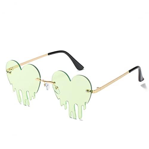 KFYOUXIN Moda colorido corazón gafas de sol mujeres hombres divertido partido sol gafas mujer grande metal sin montura gafas gafas conductor