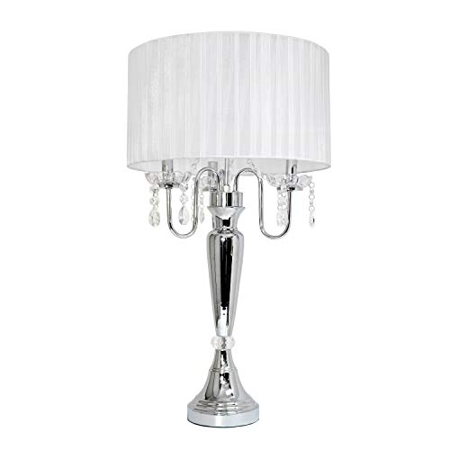 Elegant Designs LT1034-WHT Trendy Sheer Table Lamp with Hanging Crystals and Sheer Shade, White